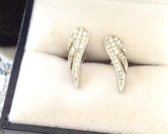 Authentic Vintage Beautiful Sterling Silver 925 Gemstone, Rhinestone, ANGEL WINGS Stud EARRINGS, Wedding, Bride, Bridesmaid, Birthday, Prom.
