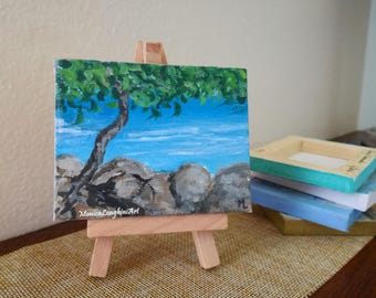 Mini painting Sea Ocean nature, acrylic on miniature canvas with wooden easel included, handmade original art