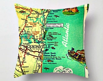 JACKSONVILLE Map Pillow Cover, Jacksonville Gifts, Neptune Beach, Decorative Pillow for Couch, for Bed, Retro Florida, Jax Atlantic Beach