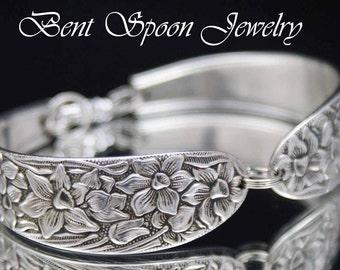 Narcissus 1935 Silver Spoon Bracelet, Spoon Jewelry, Silver Bracelet, Silverware Jewelry,  Silverware Bracelet,