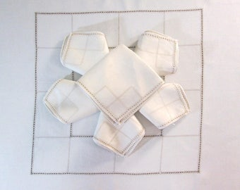 "Antique Tablecloth Table Cloth and Napkins Ivory White Italian Table Linens 48"" x 50""  Dining Room Cottage Decor Vintage Linens"