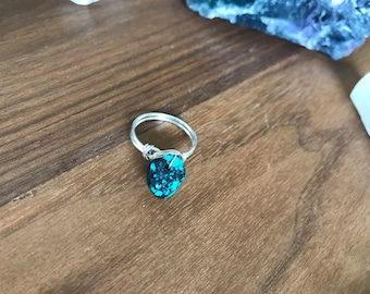 Wire wrapped turquoise ring in silver plated wire/unique gemstone crystal jewelry gift for her/gemstone ring/statement ring