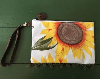 Van Gogh sunflower oilcloth wristlet