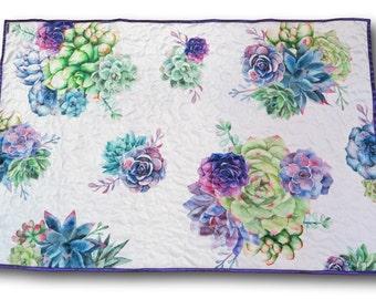 Succulent Baby Quilt, Cactus Baby Quilt, Boho Nursery Bedding, Bohemian Crib Bedding, Boho Nursery, Succulents Nursery, Cactus Nursery