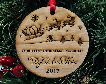 "Custom Christmas Ornaments Handmade - Our First Christmas Ornament - Christmas Gift for Newlyweds  - 1/4"" THICK - Alder Wood - SKU#302"