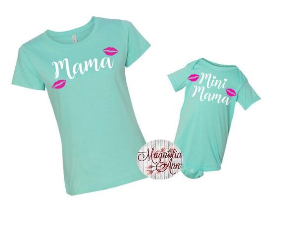 Mama, Mini Mama, Lips, Mommy And Me Shirts, Mom and Daughter Shirts, Family T-shirts,  Family Shirts, Matching Shirts, Mommy and Me Matching