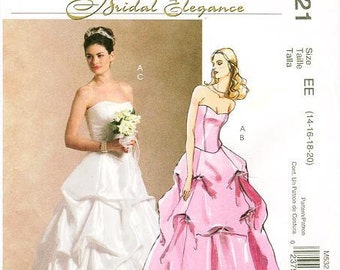 Sz  14/16/18/20 - McCall's M5321 - Misses' Strapless Top and Pick-Up Skirt Bridal Gown or Prom Dress  - Bridal Elegance