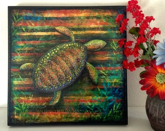 "Sea Turtle Decor--Wood Mounted Archival Print of Original Mixed Media Art with Hand-Painted Details--""Sea Turtle Collage""--Pam Kapchinske"