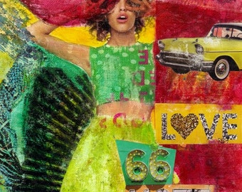 "8x10 Fine Art Print of original mixed media collage ""Pop #1"""