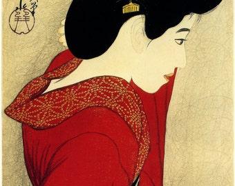 Japanese Art. Fine Art Reproduction. Before the Mirror, 1916. Shinsui Ito (1898-1972). Fine Art Print