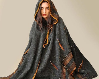 Plus Size Clothing MADE TO ORDER - Dark Gray Handwoven Poncho (Sold - Accepting custom orders)