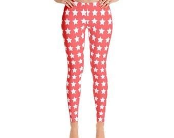 Red Star Leggings For Women Yoga Pants Yoga Leggings Workout Leggings Pattern Leggings Printed Leggings Fashion Leggings Womens Tights Yoga