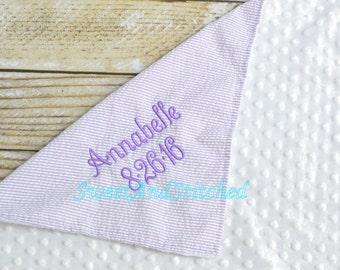 Personalized Pink or Purple Seersucker and Minky Dot Baby Blanket, Seersucker blanket, monogrammed minky dot baby blanket