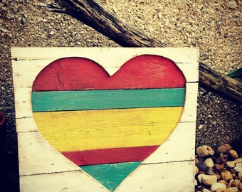 One Love, Handmade, Hand painted wooden wall art, Reclaimed wood art, Heart wall hanging, Multi-colored Heart design, rustic wood sign