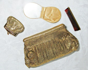 Whiting and Davis Gold Mesh Clutch With Matching Change Purse, Comb and Mirror with Case