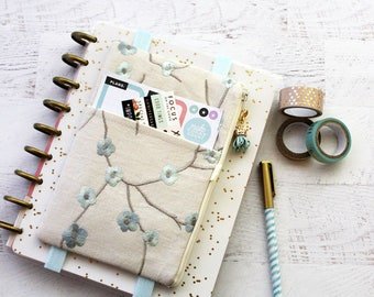 Cherry blossom planner cover - sakura planner pouch - planner accessories organizer - daily planner - sakura - zipper pouch - bullet journal
