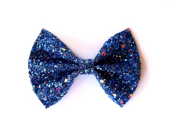 Midnight Sky Glitter Bow Adorable Photo Prop 4th of July Navy Summer Clip Pictures Headband for Newborn Baby Little Girl Child AdultBow