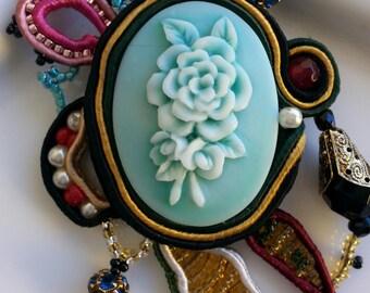 Long necklace, cameo flowers, Soutache Pendant