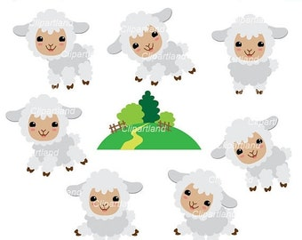 ON SALE INSTANT Download. Csh_7_Sheep. Cute sheep clip art. Personal and commercial use.