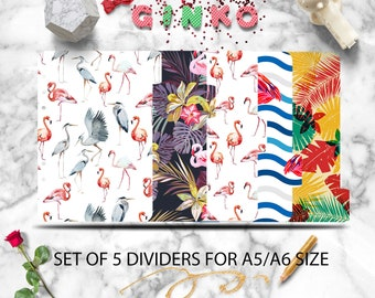 Flamingos Planner Dividers - Set of 5 Planner dividers for A5 / A6 Tropical  Index Planner Dividers