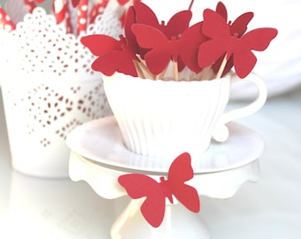 10 decorations for Cupcakes (cupcake toppers) - Red butterflies