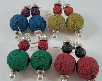Great extravagant earrings made of lava beads