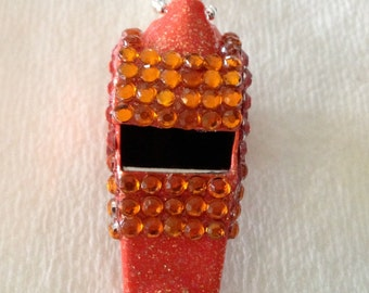 Orange Rhinestone Covered Whistle Necklace