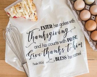 Screenprinted Tea Towel Psalm 100:5 Thanksgiving