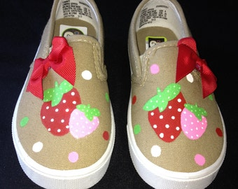 Hand Painted Strawberry Shoes