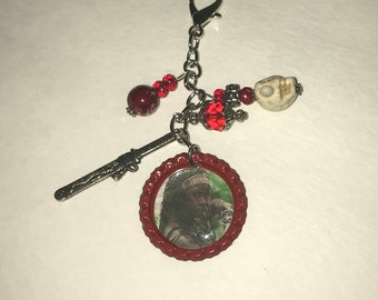 Handmade Bottlecap clip-ons or keychains Red Mischone The Walking Dead TWD Sword Skull