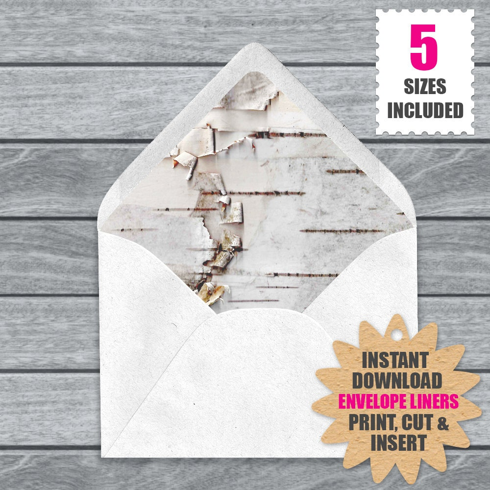 White Birch Bark Envelope Liners | Download And Print These White ...