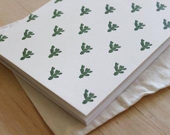 Letterpress Blank Journal - Cactus Pattern