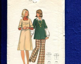 1970's Butterick 5735 Maternity Dress or Tunic with Rolled Sleeves & Wide Leg Pants Size 14