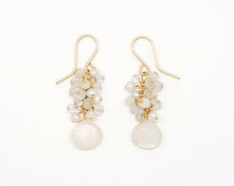 E2021 - white mix semi-precious stone cluster earring