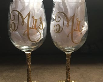 Mix & Match Wedding Party Wine Glass -Glitter Stems and Many Color Options - Bridal Gift - Bride and Groom
