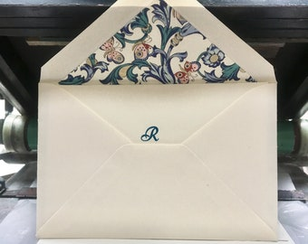 Gift set- 6 cards & envelopes- Florentine paper-teal