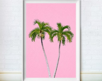 Palm Tree Art, Beach Print, Tropical Decor, Hawaiian, Mid Century Minimalist, Printable Poster, Pink, Digital Download, Paradise