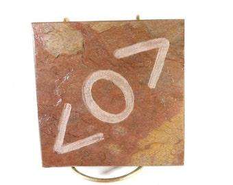RAMBALDI SYMBOL Art Tile - Hand Carved Display Tile, Etched Slate Stone Art Coaster - Alias Fan Gift - 4x4 Decorative Tile Art, Table Decor