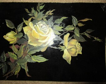 Antique Victorian hand painted original oil PAINTING signed B.E.A. yellow ROSES floral flowers black tin vintage