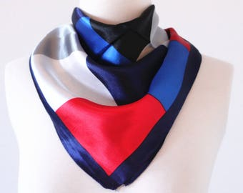 Nautical Square Scarves / Soft Silk Head Scarf / Scarf Headband / Red, White and Blue / Retro Vintage Wide Head Wrap / Bandanas
