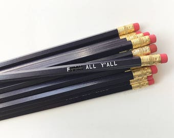 Purple Pencil Set. Sweary Pencils. Mature Pencil Set. F*ck All Yall