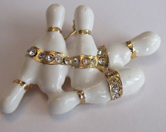 Vintage Estate Bowling Pins Brooch with Icy Rhinestones