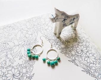 Turquoise Chandelier Hoop Earrings, Boho, Silver, Blue