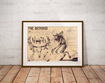 Medium - Wendigo - Algonquian folklore Art Print
