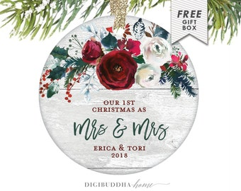 Lesbian Newlywed Christmas Ornament, Just Married Ornament 2018, Gay Couple Personalized Wedding Gift for Lesbian Couple Mrs and Mrs 1st