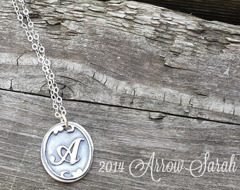 Silver oxidized initial necklace, initial pendant, personalized necklace, personalized pendant, sterling silver custom initial charm