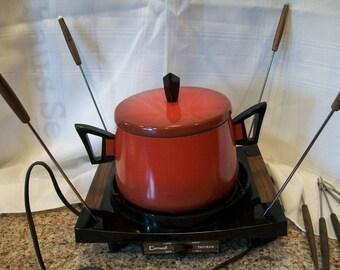 Vintage Cornwall Electric Fondue Pot Flame Orange Red 1970's