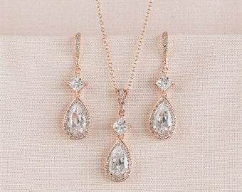 Rose Gold Bridal Earrings, Wedding Jewelry SET, Crystal Bridal Jewelry, Cushion Cut, Swarovski Bridesmaid Wedding, Alicia Bridal Jewelry SET