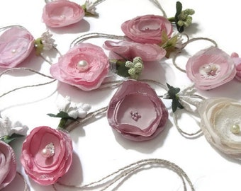 Floral Garland / Summer Decor / Nursery / Wedding Decor / Flower Bunting / Pink Ivory flowers garland / Party decor / pink flowers garland