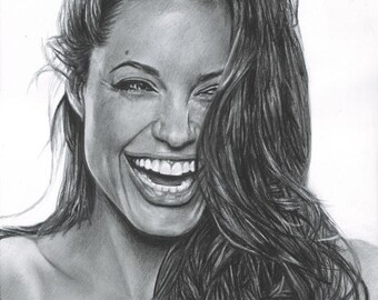 Drawing Print of Angelina Jolie